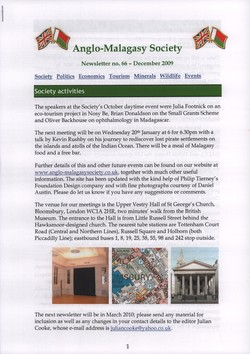 Anglo-Malagasy Society Newsletter: No. 66 (December 2009)