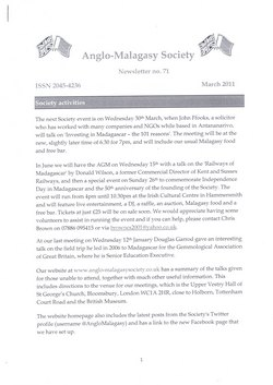Anglo-Malagasy Society Newsletter: No. 71 (March 2011)