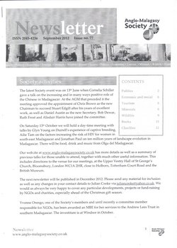 Anglo-Malagasy Society Newsletter: No. 77 (September 2012)