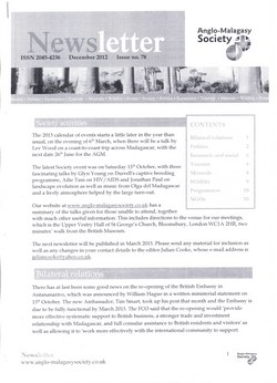 Anglo-Malagasy Society Newsletter: No. 78 (December 2012)