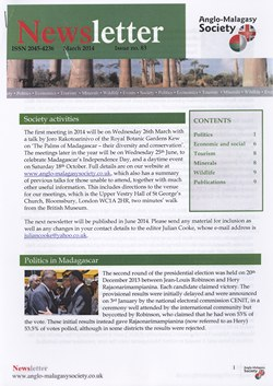Anglo-Malagasy Society Newsletter: No. 83 (March 2014)