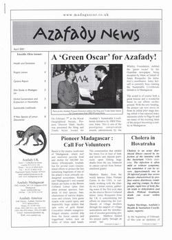 Azafady News: April 2001