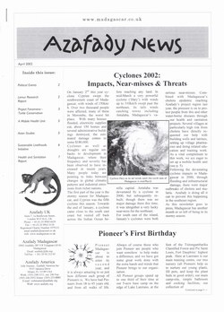 Azafady News: April 2002