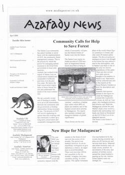 Azafady News: April 2003