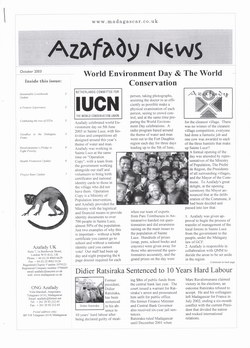 Azafady News: October 2003