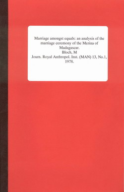 Marriage Amongst Equals: An Analysis of the Marriage Ceremony of the Merina of Madagascar