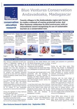 Blue Ventures Conservation Andavadoaka, Madagascar: Blue Ventures Research Update July - September 2006
