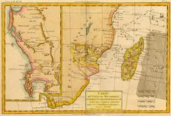 Carte du Canal de Mosambique: contenant l'Isle de Madagascar avec les Côtes d'Afrique, depuis le Cap de Bonne Esperance jusqu'a Melinde