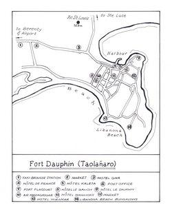 Fort Dauphin (Taolanaro): Original map artwork for the Bradt Madagascar guide (2nd ed)