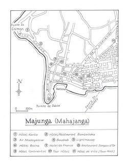Majunga (Mahajanga): Original map artwork for the Bradt Madagascar guide (2nd ed)