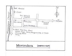 Morondava (sketch map): Original map artwork for the Bradt Madagascar guide (2nd ed)