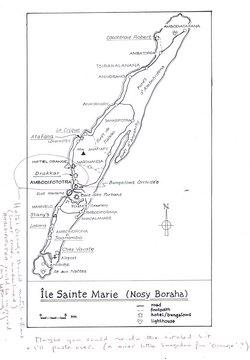 Ile Sainte Marie (Nosy Boraha): Original map artwork for the Bradt Madagascar guide (1st ed with amendments)