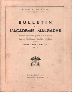 Bulletin de l'Académie Malgache: Nouvelle Serie: Tome LI: 2