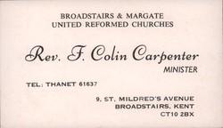 Business card of Rev F. Colin Carpenter