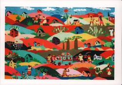 Embroidered tapestry depicting typical scenes of rural Malagasy life