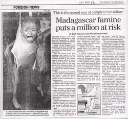 Foreign News: Madagascar famine puts a million at risk: The Daily Telegraph, 17 July 1992