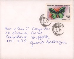 Envelope to Rev F Colin Carpenter with butterfly stamp