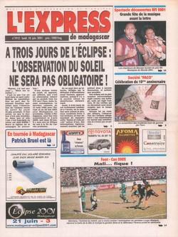 L'Express de Madagascar: No. 1912 (lundi 18 juin 2001)