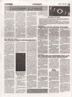 Pour être à l'heure de l'éclipse: l'Horombe et l'Isalo préparent leur show / En 1835 ou 1840: une éclipse du soleil sous Ranavalona I / Eclipse et vue: L'Express de Madagascar, no. 1913, mardi 19 juin 2001