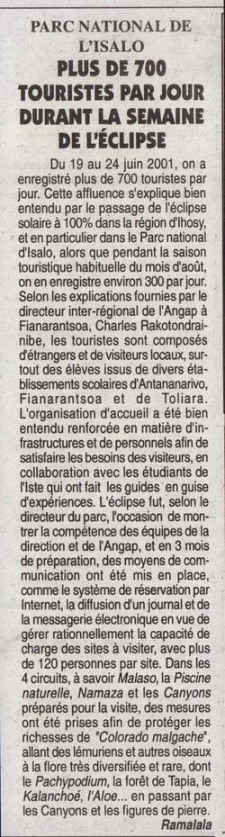 Parc National de l'Isalo: Plus de 700 touristes par jour durant la semaine de l'éclipse: L'Express de Madagascar, jeudi 28 juin 2001