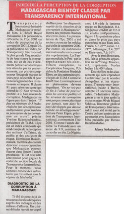 Index de la perception de la corruption: Madagascar bient?t classé par Transparency International: L'Express de Madagascar, jeudi 28 juin 2001
