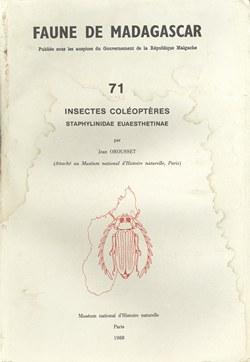 Faune de Madagascar: 71: Insectes Coléoptères: Staphylinidae, Euaesthetinae