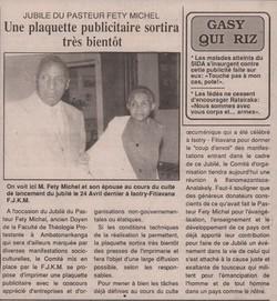 Jubilé du Pasteur Fety Michel: Une plaquette publicitaire sortira très bientôt