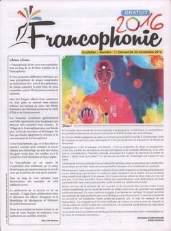 Francophonie 2016: Numéro 1; Dimanche 20 novembre 2016