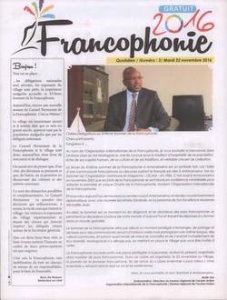 Francophonie 2016: Numéro 3; Mardi 22 novembre 2016