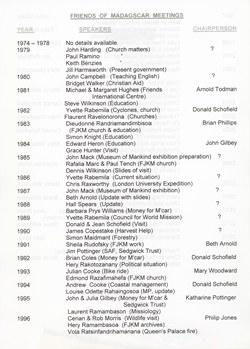 Friends of Madagascar Meetings: List of speakers 1974 to 2014