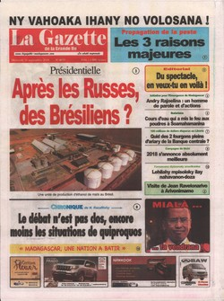 La Gazette de la Grande Île: No 4675; Mercredi 26 Septembre 2018