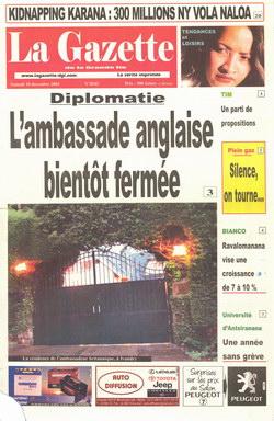 Diplomatie: L'Ambassade Anglaise Bient?t Fermée: La Gazette de la Grande ?le Article (18 December 2004)