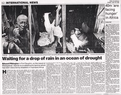 International News: Waiting for a drop of rain in an ocean of drought: The Guardian, Friday 26 June 1992