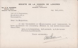 Letter of appointment of members to the Inter-Missionary Committee: May 3rd, 1956