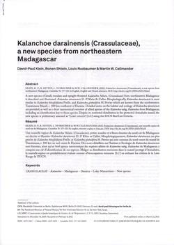 Kalanchoe darainensis (Crassulaceae), a new species from northeastern Madagascar