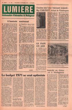 Lumière: Hebdomadaire d'Information de Madagascar: No. 1802 – Dimanche 29 Novembre 1970