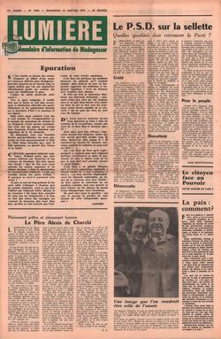 Lumière: Hebdomadaire d'Information de Madagascar: No. 1808 – Dimanche 10 Janvier 1970