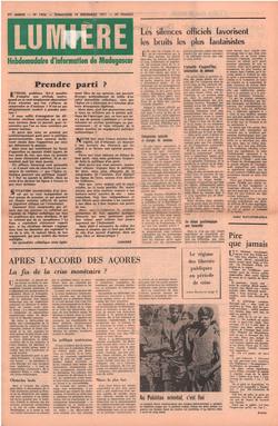 Lumière: Hebdomadaire d'Information de Madagascar: No. 1856 – Dimanche 19 Décembre 1971