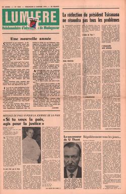 Lumière: Hebdomadaire d'Information de Madagascar: No. 1858 – Dimanche 2 Janvier 1972