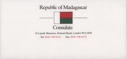 Madagascar London Consulate compliments slip