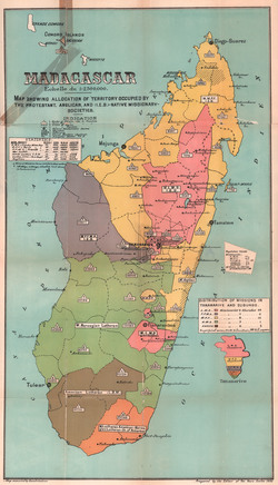 Madagascar: Map showing allocation of territory occupied by the Protestant, Anglican, and (IEB)-Native Missionary-Societies