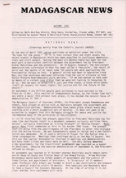 Madagascar News: Autumn 1991