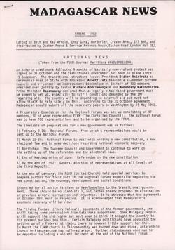 Madagascar News: Spring 1992