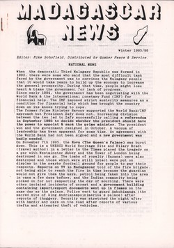 Madagascar News: Winter 1995/96
