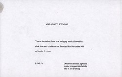 Malagasy Evening invitation