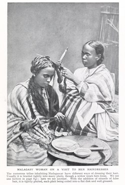 Malagasy woman on a visit to her hairdresser: Lands and Peoples of the World, Vol 6