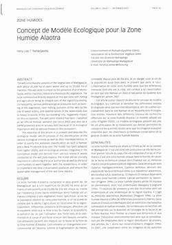 Concept de Mod?le Ecologique pour la Zone Humide Alaotra: [Zone Humides]
