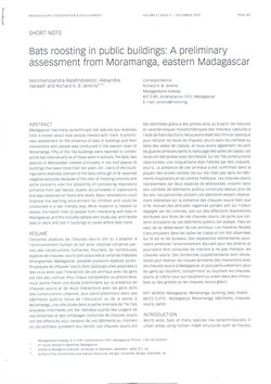 Bats roosting in public buildings: A preliminary assessment from Moramanga, eastern Madagascar