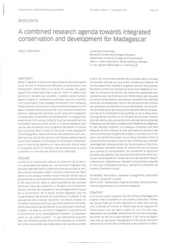 A combined research agenda towards integrated conservation and development for Madagascar