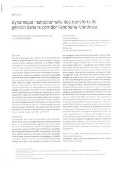 Dynamique institutionnelle des transferts de gestion dans le corridor Fandriana - Vondrozo